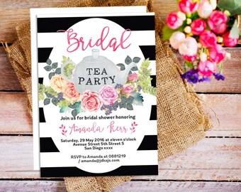 Floral Tea Party Invitations, Bridal Shower Tea Invitation, black and white stripes invitation, Garden Party Invitation, Afternoon Tea Party