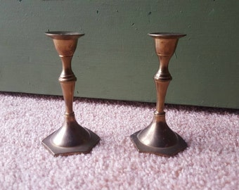 Vintage 4in Brass Candlesticks / Candle Holders Made by PWF in India - Set of Two (2)