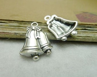 BULK 30 Bells Charms Antique Silver Tone with lovely Detailing