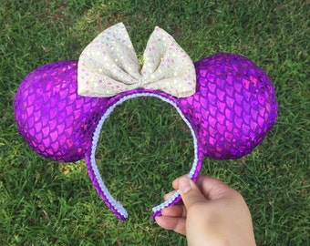 Pink mermaid scale ears
