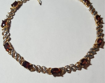 Sterling silver .925 Bracelet with Amber Gemstones Goldtone