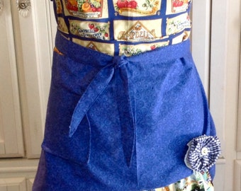 Vintage  full apron shabby retro chic Campbell's theme