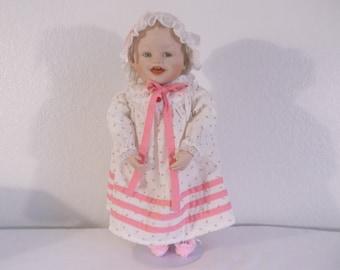 "Vintage Sooooo Cute Porcelain ""Sarah"" 15"" Doll by Knowles/Ashton Drake - 1987"