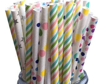 Paper Straws, Unicorn Straws, Party Decoration, Pastel Paper Straws, Assorted Paper Straws, Party Straws, Birthday Party, Sipping Straws, 25