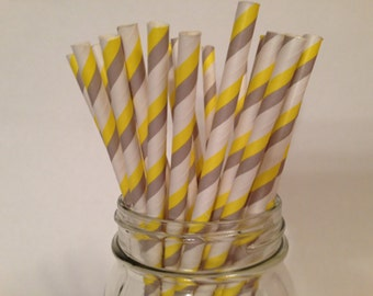 Yellow and Grey Straws,  Striped Paper Straws, Stripe Party Straws, Yellow Gray Straws, Wedding Straws, Shower Straws, Party Straws, 10 pcs