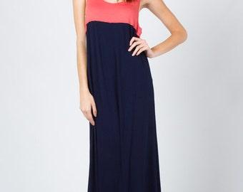 D2752 Sleeveless Color Block Maxi long dress Navy/Coral