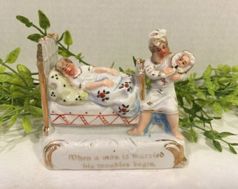 """Antique German Fairling Porcelain Figurine """"When a Man is Maried his Trouble Begins"""