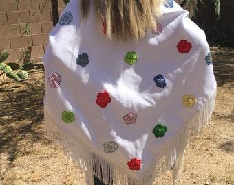 Vintage Pow Wow Shawl, large fancy dance shawl, white scarf, hand applique flowers, powwow regalia, vintage dance shawl
