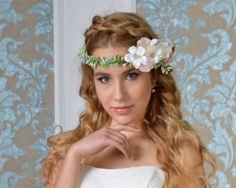 María bohemian bridal flower tiara Style 1611T,Boho crown,bridal headpiece, Flower Headband, Bohemian Bridal