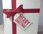 Package card with a Merry Christmas tag, red and white holiday card, Jenni's Crafty Creations by Jenni Weighall