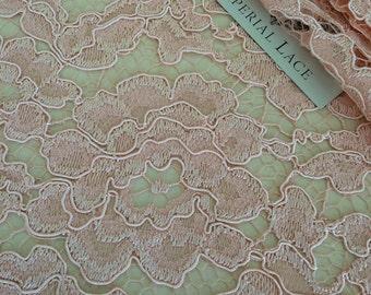 Light pink lace fabric, French Lace,  lace, salmon pink alencon lace