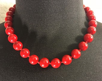 Red Shell pearl with Red Thread Hand Knotted Women's Necklace.