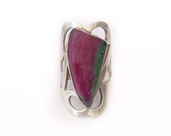 Sterling Silver Ruby Zoisite Ring - Adjustable - One of a Kind - Bohemian - Oversized Ring - Gypsy Boho Jewelry