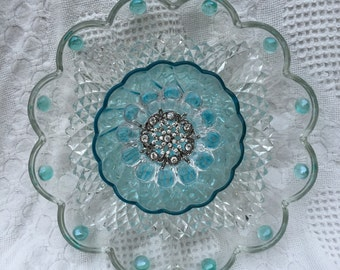 "Vintage Glass Plate Flower   ""Seaside"""