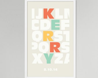 Alphabet Multi Color 2 Personalized Baby/Kids Art (Large)