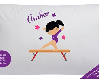 Girls Personalized Gymnastics Pillowcase