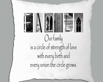 Family Letter Art with inspirational saying on White pillow cover
