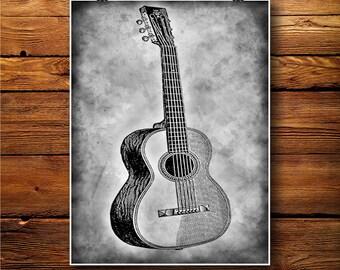 Guitar Illustration, Music Decor, Acoustic Print, Cabin Art BW237