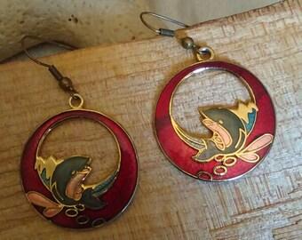 Dolphin Cloisonne Earrings
