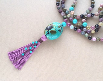8MM Hand Knotted Natural Multi-Colored Tourmaline and Chinese Turquoise 108 Mala Tassel Necklace