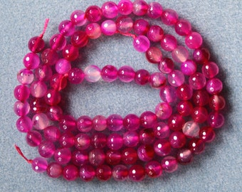 Rose Pink Agate 8mm Faceted Striped Round Beads