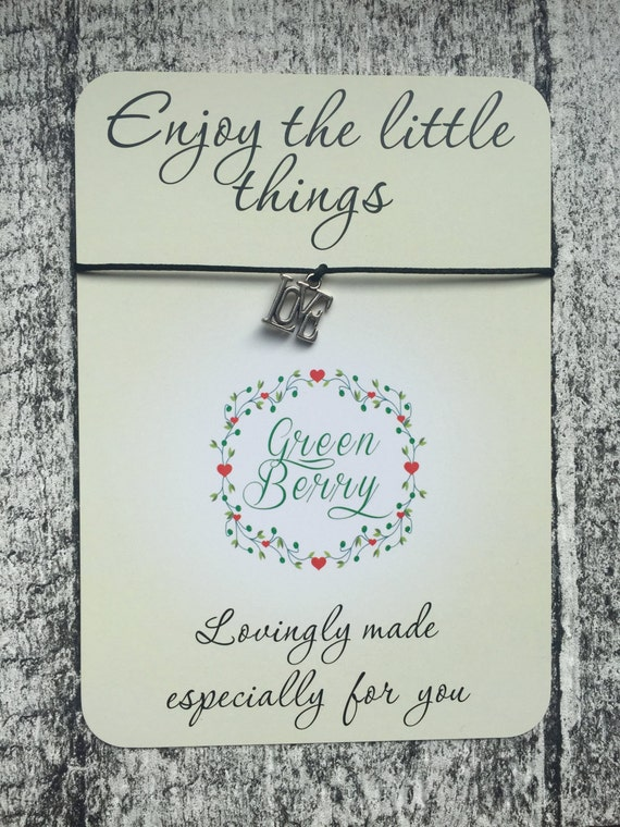 "Love charm String Bracelet on ""Enjoy the little things"" quote card madebygreenberry wish bracelet"