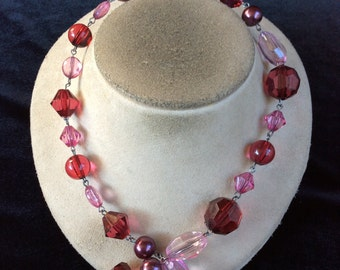 Vintage Pink Red & Purple Beaded Necklace