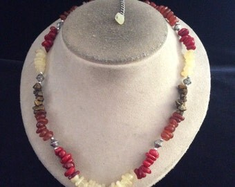 Vintage Multi Colored Glass Stone Necklace