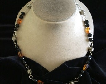 Vintage Brown & Orange Glass Beaded Heart Key Toggle Clasped Necklace