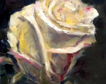 White Rose Painting, Floral, Original Art, Small Painting, Oil on Panel, Impressionism