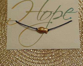 Navy Blue Fish Bracelet w/ bamboo cording