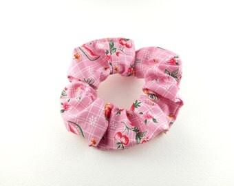 Scrunchie, scrunchies, tie hair, vintage style - pink summer fruits : watermelon, pineapple, cherry, strawberry