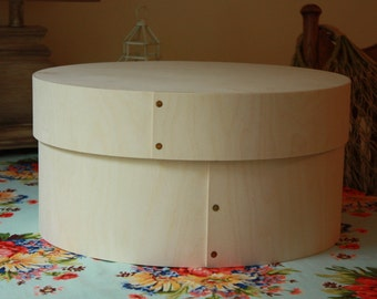 "14"" Round Wooden Hat Box,Cheese Box,Rustic Hat Box,Large Hat Box,Bride's Box,Wooden Bride's Box,Wedding Gift Box,Traditional Shaker Box"