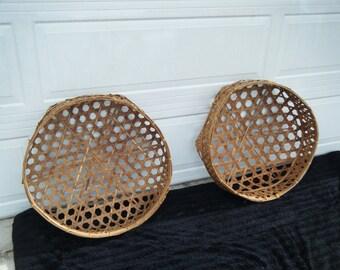 Pair Of Vintage Wicker Basket Wall Art