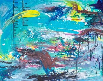 Large expressive abstract painting with lots of movement and beautiful blue colors 30x40""