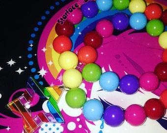 Handmade Kawaii Rainbow Chunky Beaded Stretch Necklace w/ Star Pendant