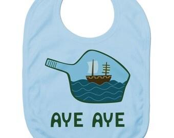 Funny Baby Bibs for Baby Boy Baby Girl Dribble Bib Feeding Bib Aye Aye Ship In A Bottle Baby Gift