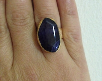 Ring, Gemstone Ring , Darkblue Ring, Blue ring,  Gold Filled Ring, Handmade Ring, Free Size Ring,  Gold Plate Ring, Gift for  Her