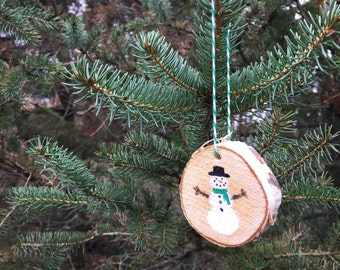 Snowman Birchwood Ornament