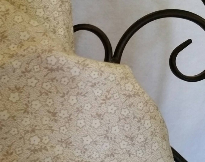 100 Percent Quilting Cotton Dainty White and Eggshell Flowers on a  White Background