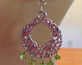 Christmas wreath earrings with Swarovski crystals.