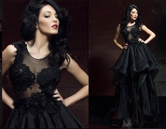 Black evening dress Lace dress/Prom dresses 2016/Designer evening gown/Official dress/Ball gown/