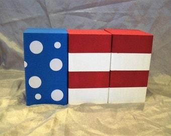 Polka Dot USA Flag Blocks