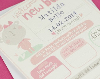 New baby girl card. Personalized new baby card.  personalised new baby girl card. new baby name card