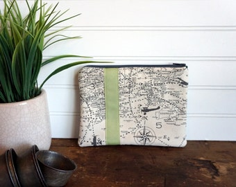 Medium Flat Make Up Bag, Zipper Pouch, Travel Bag, Maps in Grey and Green