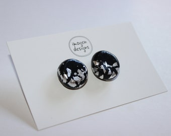 Polymer clay and silver leaf earring studs