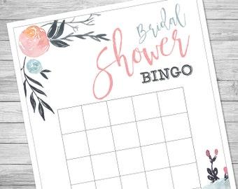 Bridal Shower Bingo Game, Printable, DIY, Print at Home, 8.5x11 - Instant Download