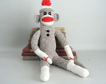Childs Toy Red Heel Sock Monkey