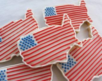 American Flag Map Sugar Cookies