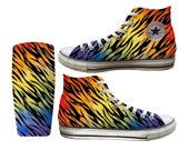 Rainbow Zebra Printed Converse All Stars and Vans